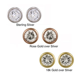 Icz Stonez Sterling Silver 5-mm Cubic Zirconia Stud Earrings