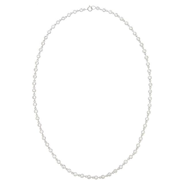 Icz Stonez Sterling Silver Cubic Zirconia 18-inch Tennis Necklace