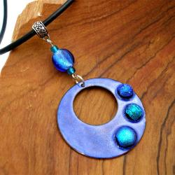 Silver, Glass and Leather Blue Round Enamel Necklace (Chile)