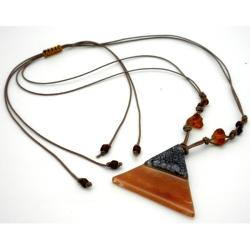 Cotton/ Fused Glass Earth/ White Wavy Line Triangle Necklace (Chile)