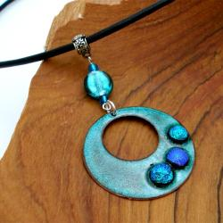 Silver, Glass and Leather Teal Round Enamel Necklace (Chile)
