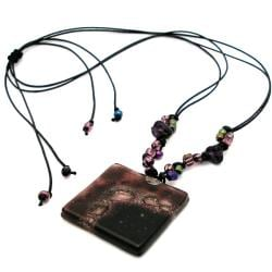 Cotton and Fused Glass Plum Square Necklace (Chile)