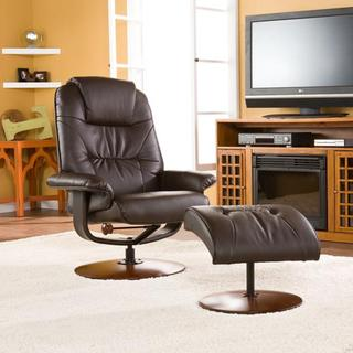 Gramercy Brown Leather Recliner and Ottoman