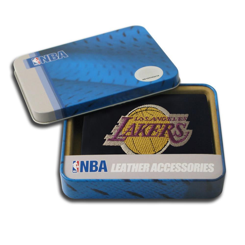 Los Angeles Lakers Men's Black Leather Tri-fold Wallet