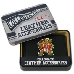 Maryland Terrapins Men's Black Leather Tri-fold Wallet