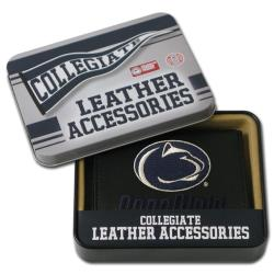 Penn State Nittany Lions Men's Black Leather Tri-fold Wallet