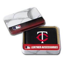 Minnesota Twins Men's Black Leather Bi-fold Wallet
