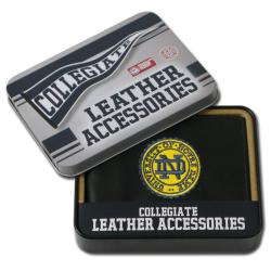 Notre Dame Fighting Irish Men's Black Leather Bi-fold Wallet