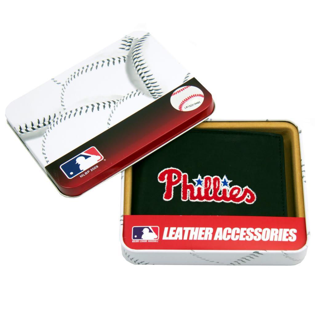 Philadelphia Phillies Men's Black Leather Bi-fold Wallet