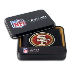 San Francisco 49er's Men's Black Leather Bi-fold Wallet