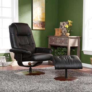 Gramercy Black Leather Recliner and Ottoman