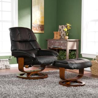 Francis Black Leather Recliner and Ottoman