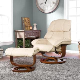 Francis Taupe Leather Recliner and Ottoman