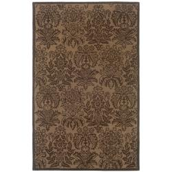 Hand-tufted Brown Floral Wool Rug (5' x 8')