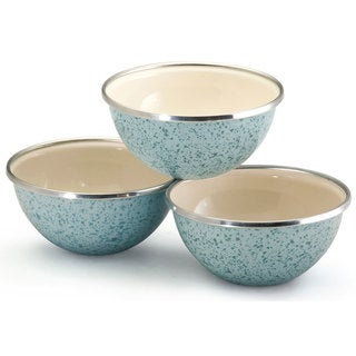 Paula Deen Signature Enamel on Steel Blue 3-piece Prep Bowl Set