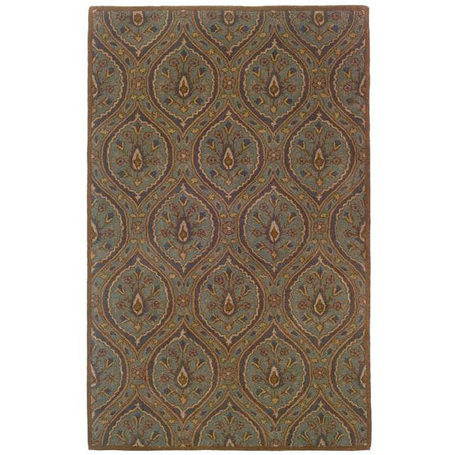 Hand-tufted Green Geometric Wool Rug (8' x 10')