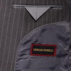 Giorgio Fiorelli Men's Grey Striped 2-button Suit