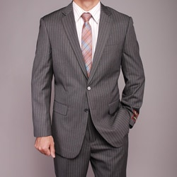 Men's Grey Striped 2-button Suit