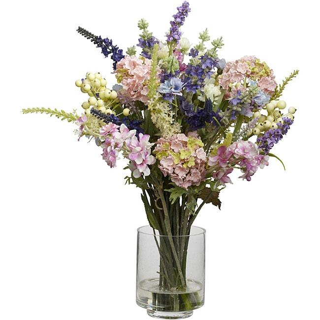 Silk 16 Inch Lavender And Hydrangea Flower Arrangement