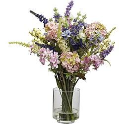 Silk 16-inch Lavender and Hydrangea Flower Arrangement