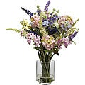Silk 16-inch Lavender and Hydrangea Flower Arrangement