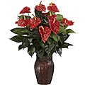 Anthurium with Vase Silk Plant