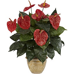 Anthurium with Ceramic Vase Silk Plant