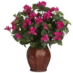 Silk Bougainvillea Plant with Vase