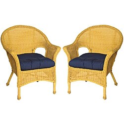 Royal All Weather Outdoor Navy Blue Wicker Chair Cushion Set Of 2