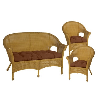 Bria Chocolate Brown Wicker Chair and Love Seat Cushions (Set of 3)