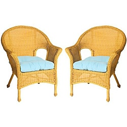 Baja All-weather Outdoor Sky Blue Wicker Chair Cushions (Set of 2)