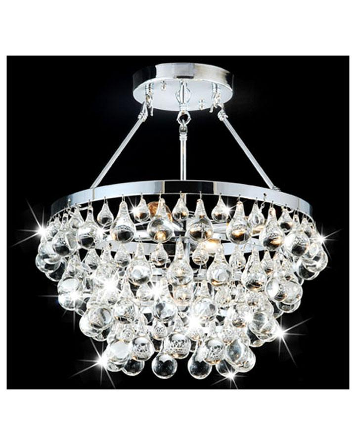 Designer 5-light Chrome Semi Flushmount Chandelier