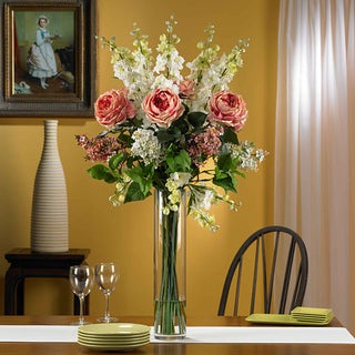 Silk 38-inch Rose/ Delphinium/ Lilac Flower Arrangement