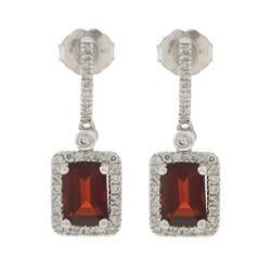14k White Gold Garnet and 1/3ct TDW Diamond Earrings (H-I, I1-I2)