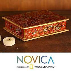 Wood 'Passion' Painted Glass Jewelry Box (Peru)