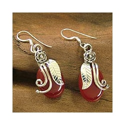 Sterling Silver 'Fiery Rose' Carnelian Flower Earrings (India)