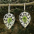 Sterling Silver 'Lime Lace' Peridot Dangle Earrings (India)