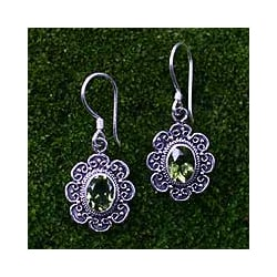Sterling Silver 'Bright Blossom' Peridot Dangle Earrings (Indonesia)