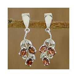 Sterling Silver 'Deep Red Wine' Garnet Earrings (India)