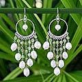 Sterling Silver 'Peridot Ruffles' Pearl Earrings (5-6 mm) (Thailand)