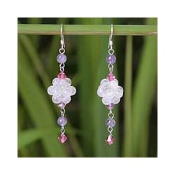 Stainless Steel 'Enchanted' Rose Quartz Amethyst Earrings (Thailand)