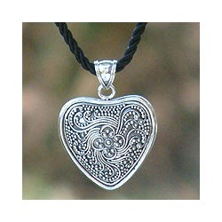 Sterling Silver 'Flowery Heart' Necklace (Indonesia)