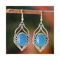 Sterling Silver 'Passion Leaf' Chalcedony Earrings (India)