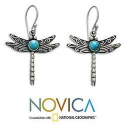 Sterling Silver 'Blue Dragonfly' Turquoise Dangle Earrings (Indonesia)