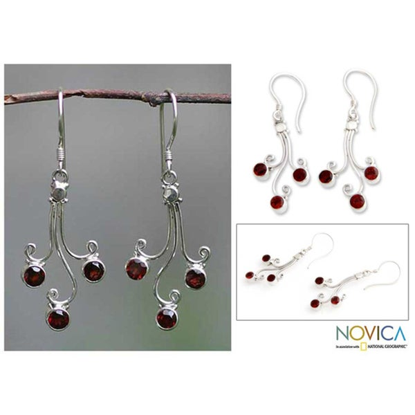 Sterling Silver 'Pomegranate Trio' Garnet Drop Earrings (Indonesia)