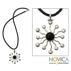 Sterling Silver 'Black Star' Onyx Necklace (Indonesia)