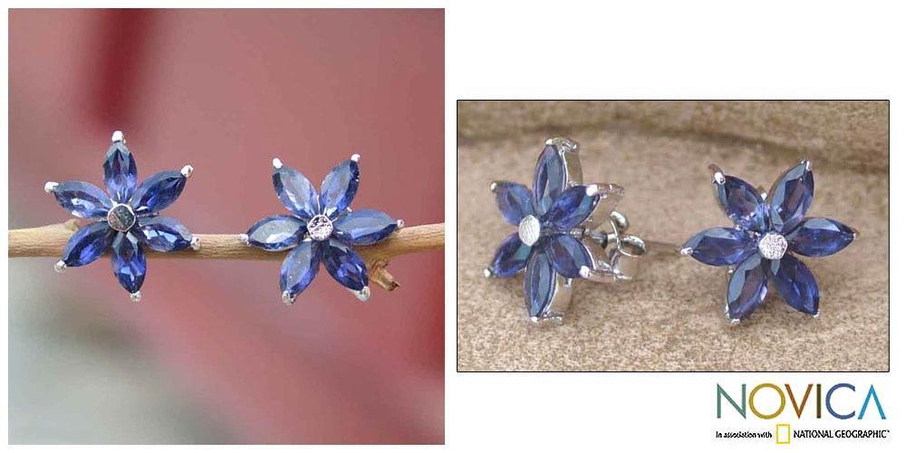 Sterling Silver 'Ocean Daisy' Iolite Earrings (India)
