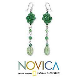 Sterling Silver 'Floral Green' Quartzite Drop Earrings (Thailand)