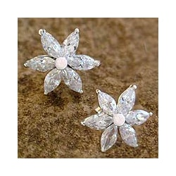 Sterling Silver 'Snow Blossom' Flower Earrings (India)