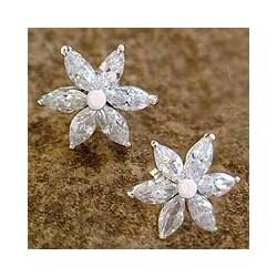 Sterling Silver 'Snow Blossom' Flower Earrings (India)